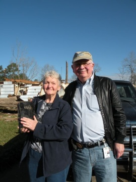 CBF's Charles Ray with Pam and her family Bible.