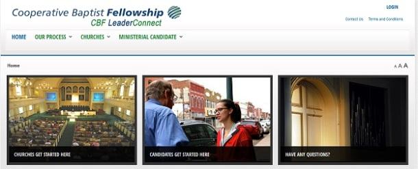 screenshot of new CBF-LeaderConnect website