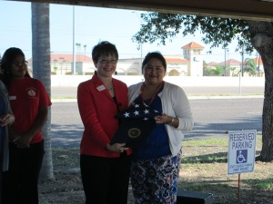 US flag to LitCenter from Congressman Hinojosa