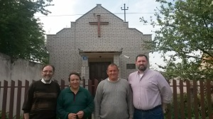 (L-R) Avram, Jovan, Tosa, and me standing in front of Baptist Church in Parta