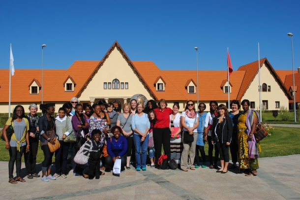 2013 Caravan for Women participants pose in front of Al Akhawayn University in Ifrane, Morocco where Karen Thomas Smith serves as chaplain.