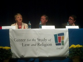 Suzii Paynter (left) speaks on religion and immigration at Emory University Law School.