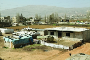 Homes of a Bedouin refugee community in the Bakka Valley, Lebanon.