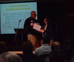 Julie Long accepts the Young Baptist Leadership Award.