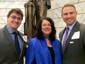 Stephen Reeves (right) and CBF Advocacy Specialist Graham Younger (left) with Kentucky Sen. Alice Kerr.