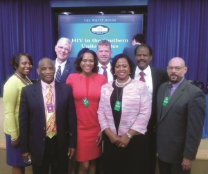 Wayne Smith (top left) poses with a group of HIV/AIDS leaders and advocates from Tennessee at the White House Summit on HIV in the South held June 23, 2014. At the summit, leaders discussed how to confront and define the new HIV epidemic plaguing numerous southern states.