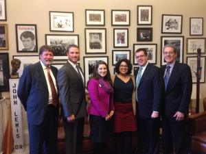 Advocacy in Action participants Mark Wiggs, Stephen Reeves, Rebecca White, Alyssa Aldape, John Mark Boes and ____ represented CBF advocates in Senator John Lewis' office on Tuesday, March 10.