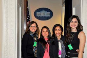 Sue Smith, Antonella Membreno, Yerendi Roblero, and Ashleigh Bugg represent LUCHA Ministries at the White House.
