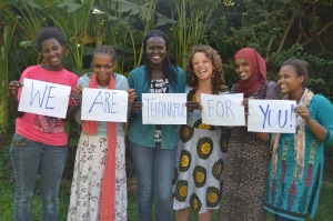 Missy Ward-Angalla (third from right) and the women with whom she ministers alongside show their appreciation for the support they receive through prayer and partnerships on Thanksgiving 2014.