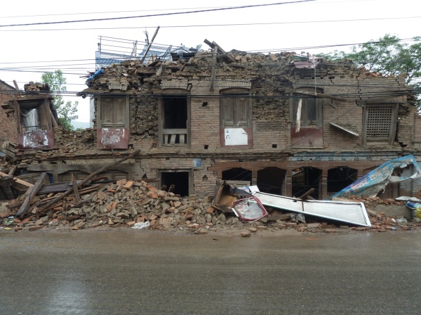 Collapsed row building near Santungal, Kathmandu valley.