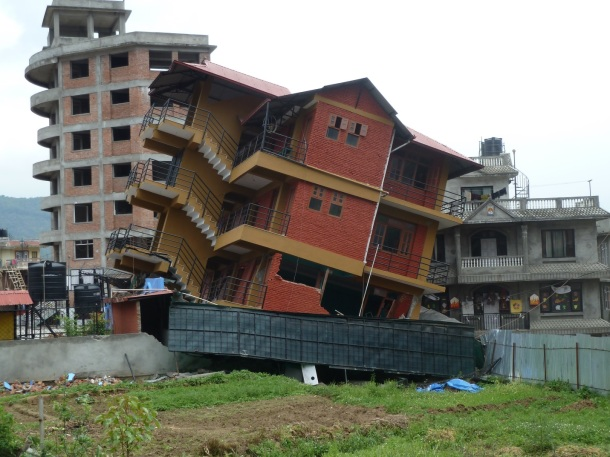 Modern building that suffered catastrophic damage in Kathmandu.