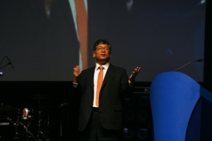 Peter Chin of South Korea delivering the sermon at the opening celebration of the Baptist World Congress in Durban, South Africa.