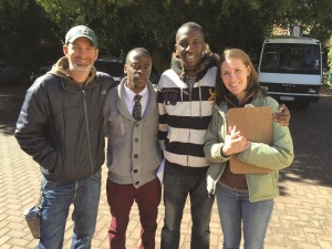 Network leader Chris Ellis (far left) of Second Baptist Church in Little Rock, Ark., and Brannon Hulsey (far right) of First Baptist Church of Knoxville, Tenn., smile alongside new friends in Johannesburg.