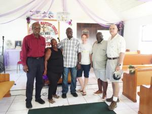 Pastor Rufus Forbes (far left) with Marica Forbes, Edwin Pinder, Rachel Gunter Shapard, Preston Cooper and Glenn Bowers