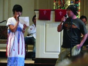 Mary Htoo and her father Htoo Htoo participate in worship at Crescent Hill Baptist Church in Louisville, Ky.