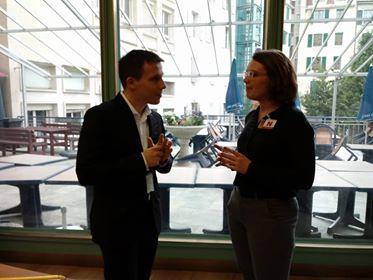 Kieryn speaking with UPR-INFO intern