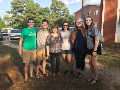 Students and staff from the Raleigh Cooperative Baptist Student Fellowship with CBF field personnel Kim Wyatt, after serving with refugee families at an end-of-summer event in Raleigh, N.C. From left to right: Lawrence Powers, Luke Scanlon, Kim Wyatt, Brittany Hubbard, Alexan Bailey and Liz Britt.