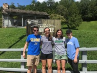 CBFNC Triangle Area Campus Minister Lawrence Powers (left) with UNC Chapel Hill students, (left to right) EmmaSzczesiul, Tessa Davis and HannahIsley, on the way to CBF's Selah Vie Retreat.
